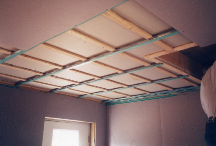 Ceiling Sheetrock On Resilient Channel With Blue Sound Vibration Isolation  Tape. Jd Drum School The Building Of